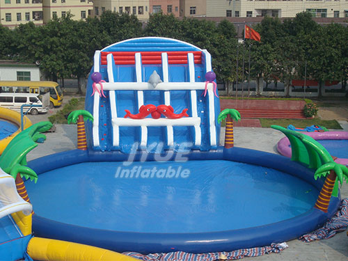 Water Park Games On Land Inflatable Water Pool Park Slide