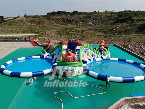 15m Dia. Outdoor Pool Kids N Adults Inflatable Water Theme Park