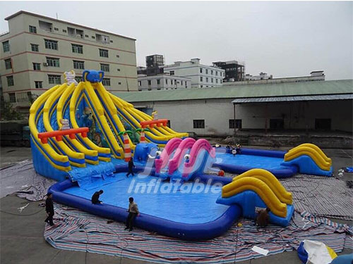 Huge Blue Elephant Inflatable Water Park With Two Swimming Pool