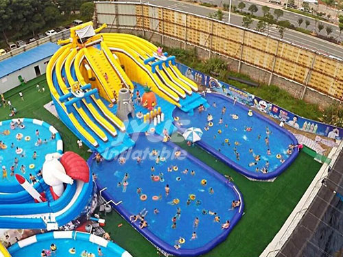 Commercial Inflatable Pool Water Park Minions Inflatable Backyard Water Park