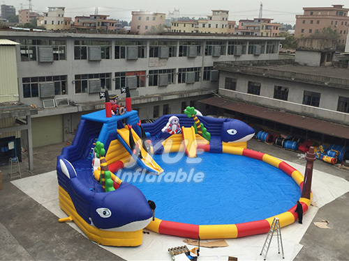 Blow Up Water Playground Fun Shark Inflatable Backyard Water Slide And Pool