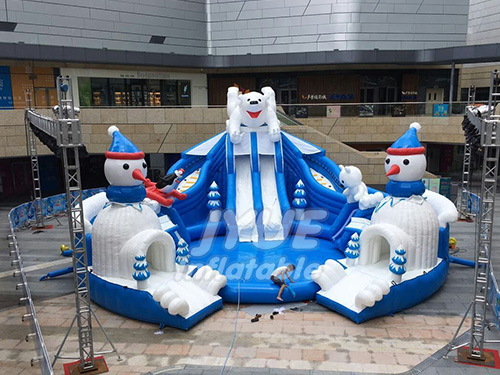 Outdoor Portable Adult Kids Polar Bear And Snow Man Inflatable Mobile Water Park On Land