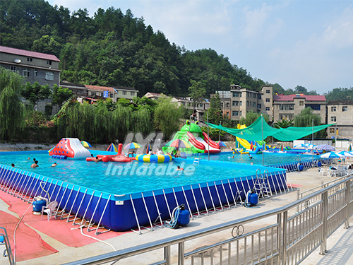 Large Portable Inflatable PVC Plastic Intex Family Rectangle Intex Metal Steel Frame Swimming Pool for Sale