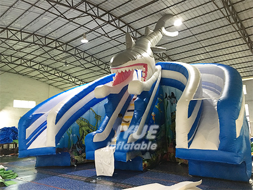 Double Lane Shark Kid Pools With Slides Inflatable Water Slide