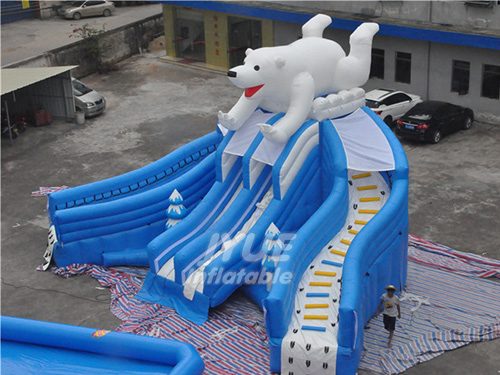 Commercial Polar Bear Water Slide Backyard Inflatable Pool Slide For Adults