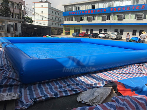 Heated Blue Inflatable Pool Deep Inflatable Rectangular Swim Pool