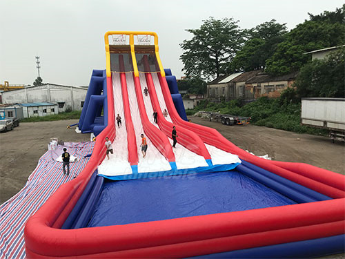 Red And Blue Commercial Blow Up Four Lane Inflatable Water Slides