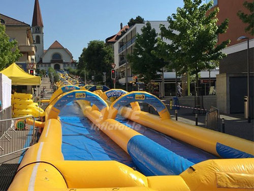Orange Color Inflatable Slip And Slide The City Largest Inflatable Water City Slide For Sale