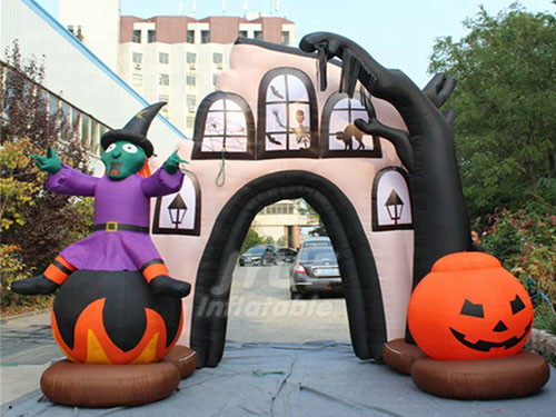 Halloween Inflatable Pumpkin And Devil Arch Entrance For Shopping Mall Decoration