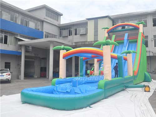 Commercial Giant Grade Jungle Theme Tree Blue Amusement Slide Inflatable Water Slides With Pool