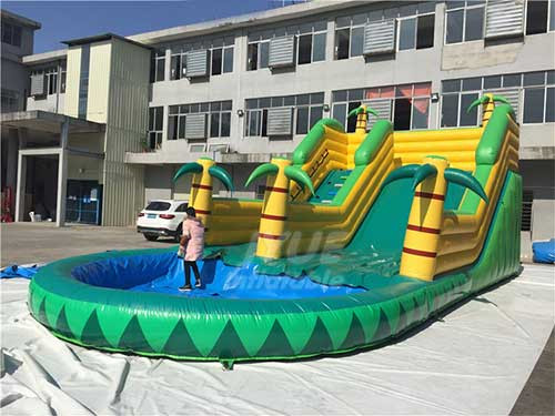Outdoor Backyard Inflatable Castle Inflatable Water Slide With Pool For Sale