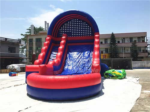 Blue And Red Commercial Inflatable Slide With Pool With Logo Printing