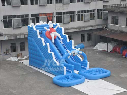 Outdor Summer Cool PVC Polar Bear InflatableWater Slide With Two Swimming Pool