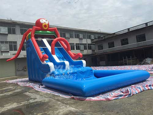 Large Summer PVC Kids Octopus Inflatable Water Slide With Pool