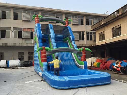 Commercial Use Durable PVC Tarpaulin Inflatable Tropical Palm Tree Water Splash Slide With Pool