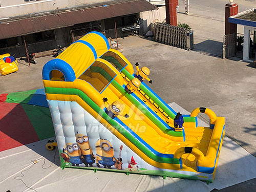 Customized Minion Theme Inflatable Water Slide For Backyard