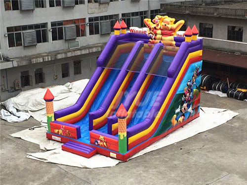 Customized OEM ODM Winnie The Pooh Inflatable Dry Slide For Children Kids