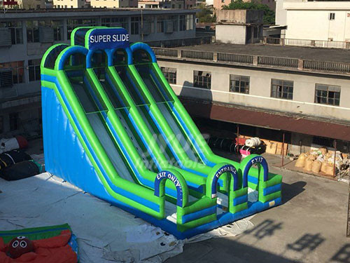 Commercial Large Outdoor Three Lane Inflatable Super Slide With Air Blower