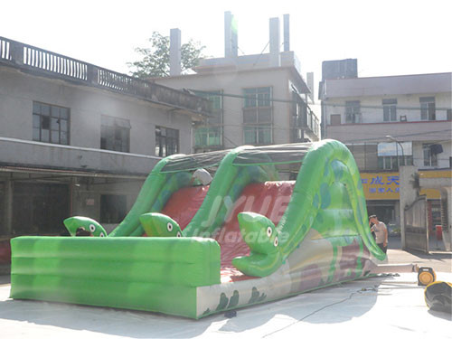 PVC Material Funny And Crazy Kids Play Snake Theme Dry Slide For Kids