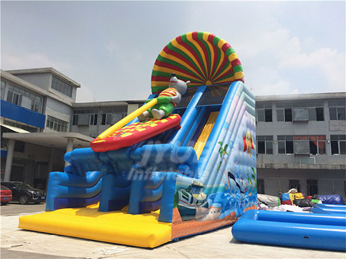 Safe PVC Tarpaulin Cartoon Inflatable Water Slide Dry Slide For Adults Or Kids Party Or Rental Business