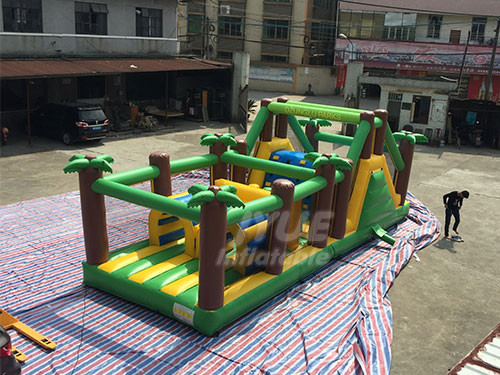 Outdoor Sport Game Challenge Jungle Theme Inflatable Obstacle Course Toy For Kids