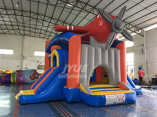 Airplane Jumper Slide Combo Commercial Bounce House Combo