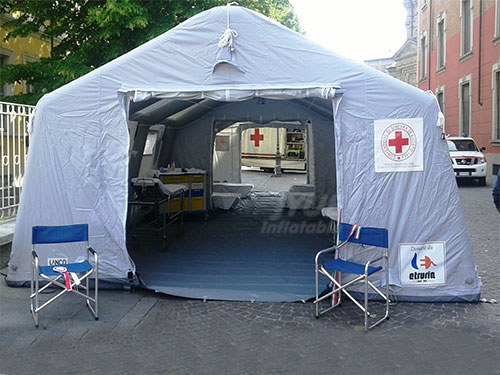 Huge Inflatable Medical Tent, Red Cross Inflatable Tents For Emergency